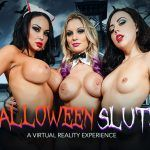 """""""Halloween Sluts"""" featuring Kenzie Taylor, Whitney Wright and Brooke Beretta vr porn"""